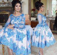 Короткие вечерние платья домохозяйства совок шеи линия драпированная синяя кружевная аппликация выпускного платья мини-коктейль платья Vestidos de Noche