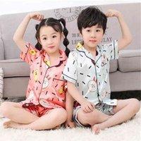 Short Sleeve Silk Pajamas for Girls Boys pjs Summer Pajama Set Satin Pijama mujeer Pyjamas Sleepwear suit 10 years old 210915
