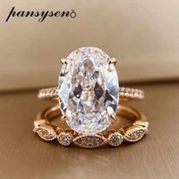 PANSYSEN 9ct Radiant Cut 9*13MM lab Moissanite Diamond Ring sets for Women Solid 925 Sterling Silver 18K Rose Gold Color Rings