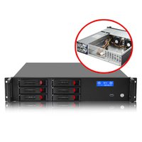 """Small desktop 6 bay 2u-server case with 2 cooling fans short 480mm depth industrial 2u chassis with-2.4"""" 2.5"""" HDD"""