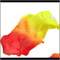 Party Favor Beautiful Silk Three Color Gradient Flame Dance Hand Folding Bamboo Fan Decoration For Ladies Womens Home Crafts B9Wtt Ihm0C