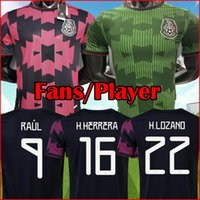 멕시코 축구 유니폼 블랙 핑크 그린 코 카메라 Camisetas 20 21 팬 선수 버전 Chicharito Lozano Dos Santos 2021 축구 셔츠 남성 + 키트 세트 키트