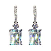 Hoop & Huggie Cute Multicolor Zircon Square Stone Dangle Earrings For Women Wedding Jewelry Yellow Gold Mystic Rainbow Crystal Drop