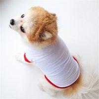 Sublimação Blanks Roupas de cachorro Branco Filhote de cachorro em branco Camiseta Cor Sólida Cães Pequenas T Camiseta Cães de Algodão Outwear Pet Fontes 2 cores 443 V2