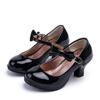 Flat Shoes Childrens Kids Girls High Heeled Leather For Wedding And Party Princess Dance Performance Red Pink Black 3-12T