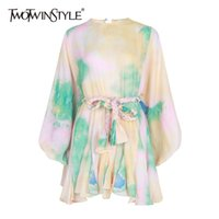 TWOTWINSTYLE Hit Color Print Dresses Women Long Sleeve O Neck High Waist Lace Up Female Dress Spring Casual Fashion Tide 210402