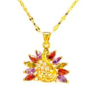 Fashion 24K Gold Color Zircon Crystal Chain Necklace For Women Peacock Pendant Women's Wedding Jewelry Mothers Day Gift Necklaces