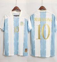 2021 Argentina Concept Kit Edição Comemorativa Futebol Jerseys Maradona Messi Kun Aguero di Maria Lo Celso Dybala Top Quality Football Camisa