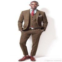 Fashion Two Buttons Brown Tweed Groom Tuxedos Groomsmen Notch Lapel Mens Suits Blazers (Jacket+Pants+Vest+Tie) Men's &