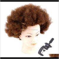 Kafalar Bakım Styling Araçları Ürünler Bırak Teslimat 2021 Pro Kısa Afro Kinky Kıvırcık İnsan Saç Uygulaması Manken Başkanı Modeli W / Kelepçe LXLB7