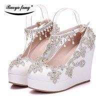 Baoyafang Женщины Кристалл Свадебные Обувь Клинья 11 см Высокие каблуки Платформа Женщина Лордж Ремень Женские Насосы Платье