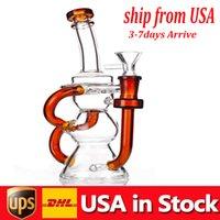 Grosso Hookahs Dab Rigs Super Vórtice Tubos de Água 10.3inch Recycler Bong Ciclone de vidro Beaker Beaks 14mm articulação com tigela de erva seca em estoque EUA