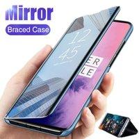 Étui à rabat anti-miroir SMART pour Oneplus 8 PRO 7T 7 6T 6 5T PU Couverture antichoppes PU 1+ 1 + 6T Téléphone cellulaire