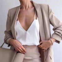 Women's Suits & Blazers Spring 2021 Khaki Blazer Women Female Formal Wear Offic Vintage Lapel Collar Long Sleeve Woman Jackets