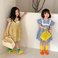 7342 فتاة ملابس الربيع والصيف الكورية ملابس الأطفال الفتيات الأزهار قصيرة الأكمام اللباس الدانتيل الأميرة 210621