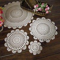 Mats almofadas 1 pc Redonda Retro Coroa Placemat Cup Tablecloth Handmade Crochet Lace Algodão Cobertura de Algodão Chá Café Doily