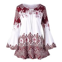 Women's T-Shirt Fashion Womens Casual Blouse Plus Size Samll Floral Printed Flare Sleeves O-neck Tops Blouses Three Quarter Loose Classic Ts