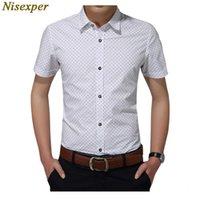 Мужские рубашки Nisexper Джентльменская рубашка Мода Cats Социальная беседка Короткая MUW Высокое Качество Стыка Plus Размер M 5XL