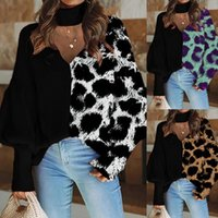 Women Designers Clothes 2020 Long Sleeve Leopard Print Pullovers Crew Neck Panelled Loose Tshirt For Women