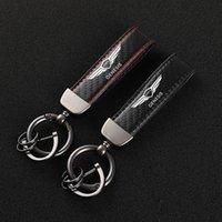 2021 New Leather Horseshoe Buckle Keychain Car Logo Creative Custom Key Ring For Hyundai Genesis Coupe G80 G70 GV80 BH GH