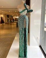 한 어깨 녹색 인어 이브닝 드레스 크리스탈 구슬이 높은 사이드 분할 공식 무도회 가운 사용자 정의 플러스 사이즈 Pageant 착용 파티 드레스