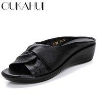 Oukahui Натуральная кожа открытый носок женские тапочки женщины шлепанцы летние туфли Slip-на медведя на каблуках сандалии 210622