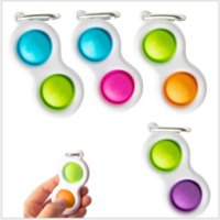 Push Bubble Keychain Kids Novel Fidget Keychains Simple Dimple Toys Key Holder Rings Bag Pendants Decompression Toy Gifts