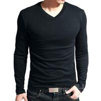 Lycra Baumwoll-Männer langärmlige V-Ausschnitt-T-Shirt Herrenoberseite