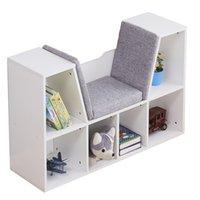 US сток 6-кубкие держатели для хранения стойки дети книжный шкаф, многоцелевой организатор кабинета шельфа дети темно белый для одежды, обувь, игрушки