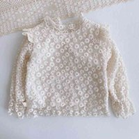 MILANCEL 2021 Spring Style Girls Daisy Embroidery Kids Base Clothes Long Sleeve Shirt for Girl 210331