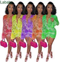Sexy Long Sleeve Women Dress Fashion Solid Color V-neck Slim Fit Skinny Dress Women Summer Designer Clothes