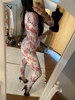 Тренажерный зал Одежда для тренажерный зал 2021 женская мода напечатанный bodycon етличный комбинезон леди весна осень повседневный с длинным рукавом v-образным вырезом ползуна лаундж одежды