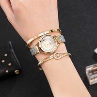 Geschenkuhr Set 3 stücke Frauen Armbanduhren mit großer Uhrenbox Marke Zonmfei Frau Kleid Design Watch 210603