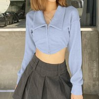 Women's T-Shirt Women Casual Fashion T-shirts Solid Ribbed Knit Cardigan Tees Long Sleeve Zipper Front Y2K Street Exposed Navel Slim Tops Au