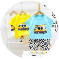Baby Clothing Sets Boy Suits Boys Kids Outfits Summer Cotton Cartoon Short Sleeve T-shirts Striped Pants Shorts 2Pcs Casual 0-5T B5213