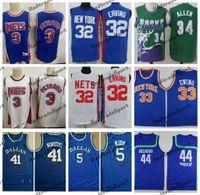 Vintage 1992 Basketball Jerseys 3 Drazen Petrovic 32 Julius erving 33 Patrick Ewing 44 Pistol Pete Maravich 5 Jason Kidd 41 Dirk Nowitzki 34 Ray Allen cousu Shirts