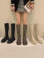 Boots Lady Shoes Round Toe Luxury Designer Back Zip Flat Heel Boots-Women Zipper Autumn Rubber Lolita Fashion 2021 Med Wo