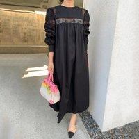 Повседневные платья Дунайский Корейский круглый шеи кружевное вязание крючком однобортное плиссированное свободное платье в рукаве на задней части женщин 2021 осень