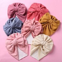 Caps & Hats Bow Solid Cotton Baby Hat 3M-5T Turban Infant Toddler Born Cap Bonnet Beanies For Mom Girls Boy Hair Accessories