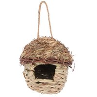 Bird Cages 1Pc Nest House Weaving Straw Shelter Creative Birdcage (Khaki)