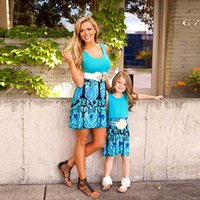 Family Matching Outfits Mother Daughter Dresses Children Clothing Girls Clothes Summer Cotton Flower Kids Beach Dress Casual Child Wear B6298