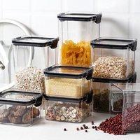 Storage Bottles & Jars Transparent Plastic Food Container With Lids Kitchen Organizer And Refrigerator Multigrain Box
