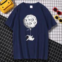 Men's T-Shirts Flying Astronaut Cartoon Prints Clothes Men Anime S-XXXL Tshirt Comfortable Loose Tops Personality Tshirts Sweat T Shirt