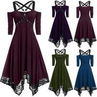 Casual Dresses Women Black Dress Punk Plus Size Open Shoulder Lace Spaghetti Strap Long Sleeve Gothic Autumn Winter 2021