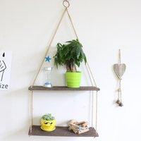Hooks & Rails Wood Swing Hanging Rope Wall Mounted Floating Shelves Decoration Storage Window Shelf Plants Pos Decorations