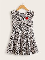 Kids Girls Sleeveless Leopard Dress Children Stylish For Daily Wear Fashion Flying Sleeve Print A-Line Girl's Dresses