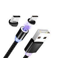 Магнитные кабели для мобильного телефона USB Светодиодные быстрые зарядки микро Тип C для Xiaomi Магнитное зарядное устройство Мобильный проволочный шнур