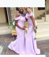 Lilac Bridesmaid Dresses 2021 Off the Shoulder Mermaid Beaded Scoop Neck Maid of Honor Gown Beach Wedding Party Gown Vestidos