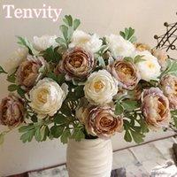 Peônia flores artificiais seda de alta qualidade para casa casamento casamento cenário decoração de outono acessórios falsificados flor outono deocr decorativo