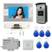 """فيديو باب الفيديو 7 """"LCD الهاتف إنترفون نظام RFID التحكم في الوصول كاميرا في الهواء الطلق كاميرا كهربائية قفل"""